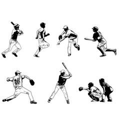 Baseball players set - sketch vector