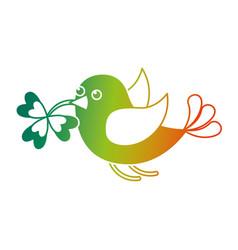 Bird flying with clover in beak vector