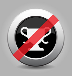 Black gray button white sports cup banned icon vector