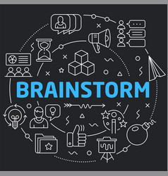 Black line flat circle brainstorm vector