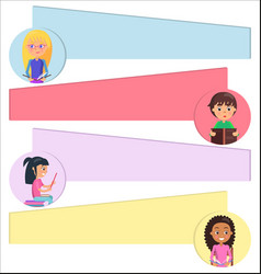 children portraits in circles with place for text vector image