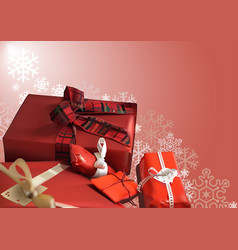 christmas background with red gifts vector image vector image
