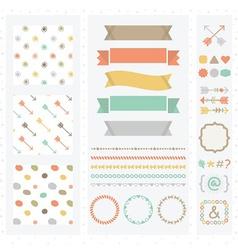 Cute light color design elements set vector image vector image