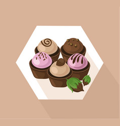 Delicious cupcakes set sweet dessert chocolate vector
