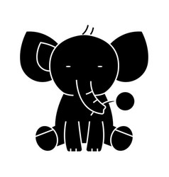 elephant cute icon black vector image