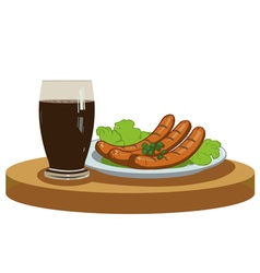 Grilled sausages and dark beer vector image vector image