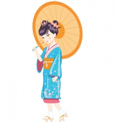 Japanese girl with umbrella vector image vector image