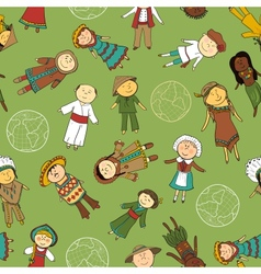 Kids in traditional costumes seamless pattern vector image