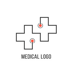 Medical logotype with thin line cross vector