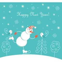 New Year skating happy snowman vector image