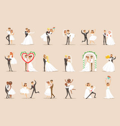 Newlyweds posing and dancing on the wedding party vector