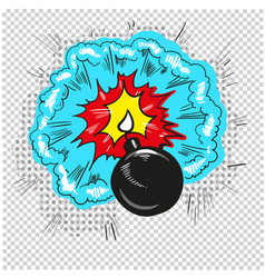 old bomb starting to explode comic book design vector image