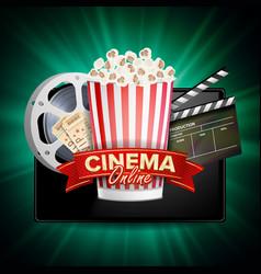 online cinema banner with tablet cinema vector image