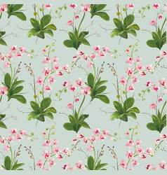 Orchid tropical leaves and flowers background vector