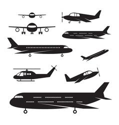 Plane light jet objects silhouette set vector