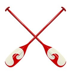 Professional red canoe oars vector