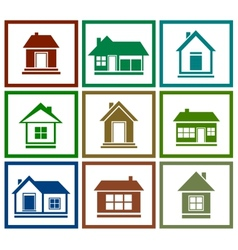 Set colorful house icon vector