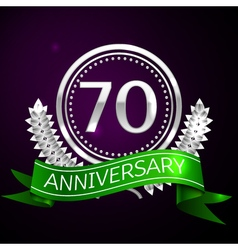 Seventy years anniversary celebration with silver vector