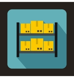 Shelves with cardboard boxes icon flat style vector