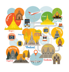 southeast asia travel infographic vector image vector image