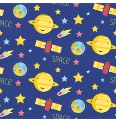 Space Objects Cartoon Seamless Pattern vector image vector image