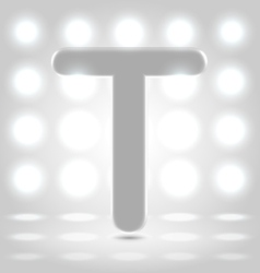 T over lighted background vector image vector image