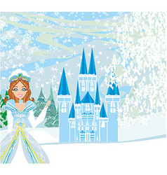 Winter landscape with castle and beauty queen vector image
