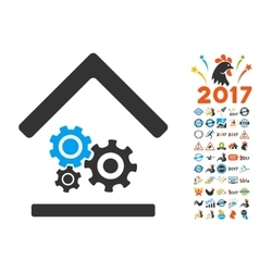 Workshop icon with 2017 year bonus symbols vector