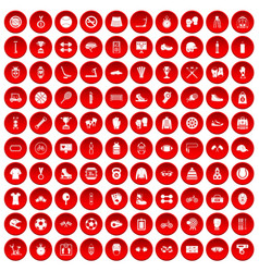 100 sport accessories icons set red vector