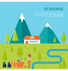 Scavenge Concept in Flat Style Design vector image