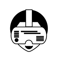 Man virtual reality glasses technology outline vector