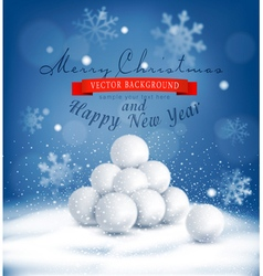 Christmas background with a bunch of snowballs vector