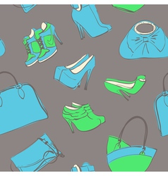 bags and shoes seamless vector image