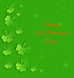 Emerald background with paper shamrock vector