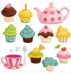 Tea set and cupcakes vector