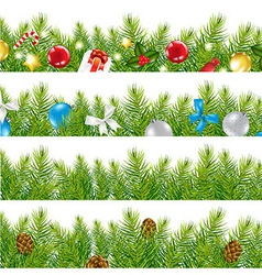 Border with christmas tree set vector