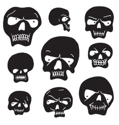 Skulls cartoon set vector