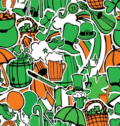 Seamless pattern with holiday symbols patrick vector