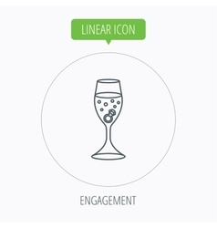 Glass with ring icon engagement symbol vector