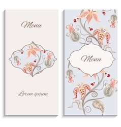 Color floral vintage ornament menu vector