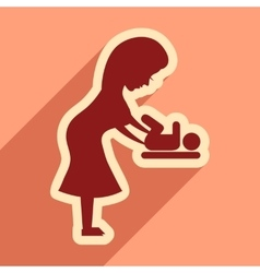 Flat icon with long shadow mother and child vector