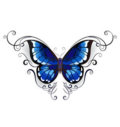 Tattoo blue butterfly vector