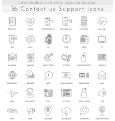 Contact us ultra modern outline line icons vector