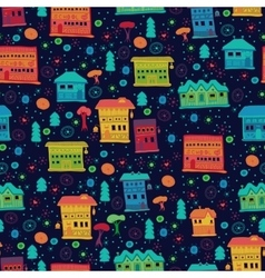 Seamless pattern of narrow houses vector