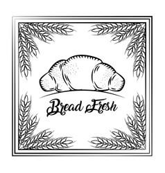Bread fresh croissant vintage frame wheat vector