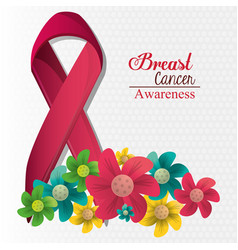 Breast cancer awareness flowers and ribbon vector