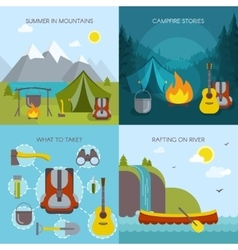 Camping square icons set vector