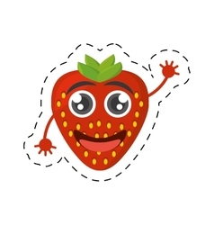 Cartoon tasty strawberry fruit cut line vector