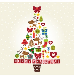 Christmas tree of characters and decorations vector image vector image