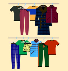 clothes racks with wear on hangers set flat vector image vector image